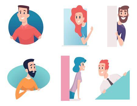 사람들이 엿보기입니다. 프레임워크 모양의 남자 여자 아이와 집 벡터 캐릭터에 서 있는 발코니. 발코니 여자와 남자, 캐릭터 여성과 남성 일러스트