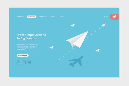 Airplane landing. Success business web page concept picture with paper planes goals destination vector template. Illustration business airplane development