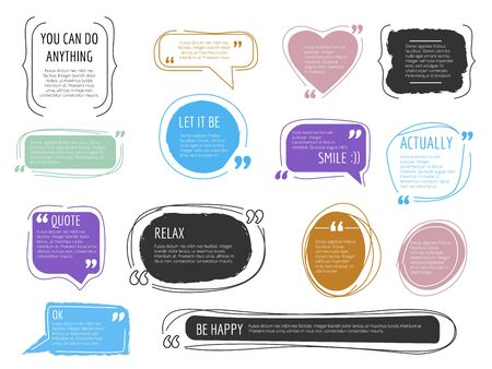 Message frames. Quote boxes colorful design templates modern creative block for text vector trendy vector labels. Quote blog mark, quoting sticker message illustration