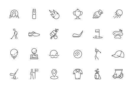 Golfing icon. Sport club vector symbols bag with sticks rockets mini golf balls car. Golf car, sport game set icons illustration