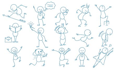Business stickman. Hand drawn characters people figures expressions jumping running holding pointing vector business set. Illustration simple smile expression, stickman working and tiredness Illustration