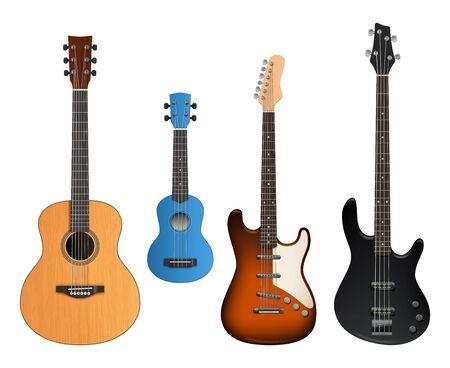 Chitarre. Strumenti musicali realistici suonano per creare oggetti rock e raccolta vettoriale di chitarre acustiche. Strumento per chitarra illustrazione per rock e acustico Vettoriali