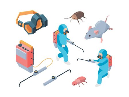 Pest destruction. Fumigation poison controlling pest insects service vector isometric. Illustration pest control, disinfection cockroach and rat