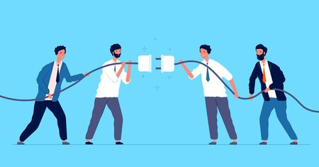 Team connected plug. Business people connecting different connectors team managers cooperation vector concept. Connect strategy cord, success deal together illustration Vektorové ilustrace