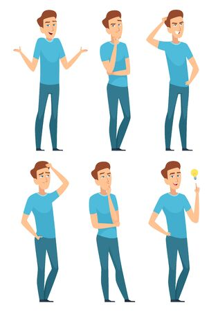 Thoughtful person. Thinking face of male expression pose worried asking question serious an doubt vector. Face male character expression and gesture pose illustration 矢量图像
