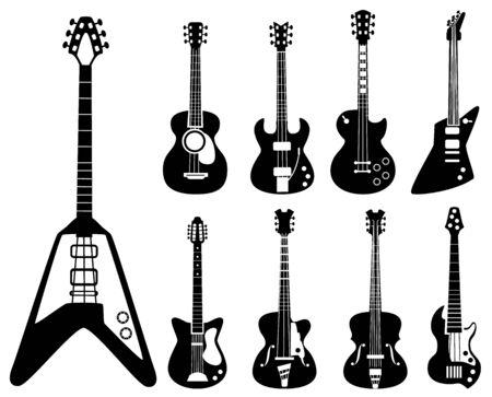 Guitar silhouettes. Musical instruments black symbols acoustic and rock guitars vector set. Silhouette instrument electric for rock and acoustic guitar illustration