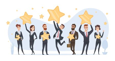 Rating stars. People holding in hands various stars of ratings and reviews vector business concept. Illustration rating and feedback review stars