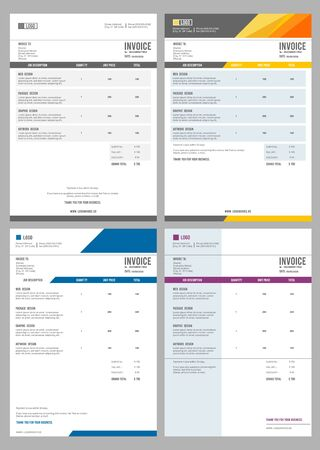 Invoice. Bills service money agreement vector print template with place for text. Bill paper total bookkeeping invoice form illustration