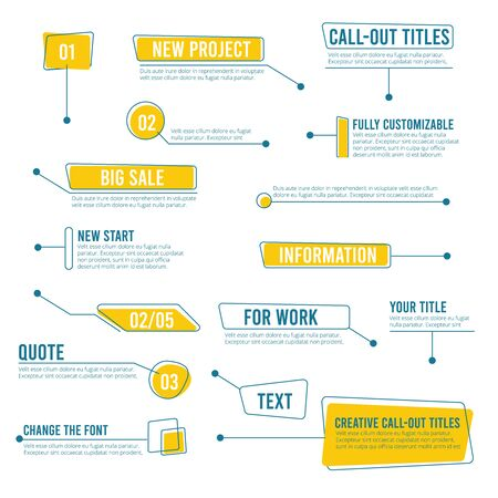 Callout banners. Digital labels social boxes text templates chart boards vector infographics. Call out shape for message information illustration