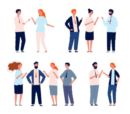 Business characters talking. People groups conversation people dialogue vector set. Conversation talk social, speak and communication dialogue illustration