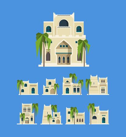 Desert arabic buildings. Egypt antique old traditional houses brick architectural objects old homes vector. Illustration structure sandstone house, historical building desert