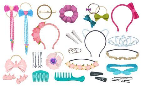 Akcesoria do włosów. Kobieta moda klipy łuki opaska do włosów elastyczne wstążki dla dziewczynek wektor kreskówka. Ilustracja gumka i opaska na głowę, grzebień i dekoracja obręczy