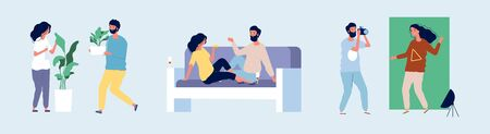 Loving couple. Happy couple in love spending time together. Flat male female characters at home dating spare time vector illustration. Couple woman and man love, romantic person relationship
