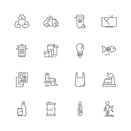 Recycling icon. Garbage plastic bottles recycled symbols rubbish paper vector pictograms collection. Garbage waste, plastic and paper, recycle trash illustration
