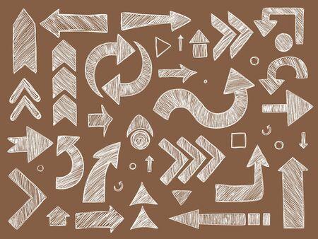 Arrows. Sketched chalkboard way direction symbols vector arrows set. Arrow drawing direction, sketch curve chalk illustration