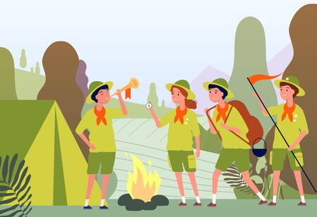 Camping scouts. Campfire in forest and happy kids in uniform sitting outdoor vector adventure flat concept. Campfire camp, travel activity in childhood illustration
