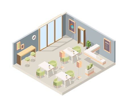 Restaurant isometric. Cafe modern interior storefront walls 3d furniture flooring vector low poly picture. Plan interior 3d isometric restaurant illustration Vector Illustration