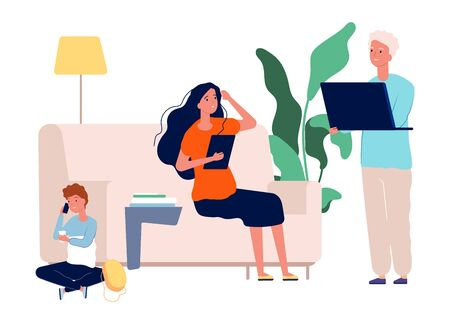 Gadget addiction. Family with laptop, tablet and smartphone. Parents and child spend time on Internet vector illustration. Addiction family internet, man and woman with computer