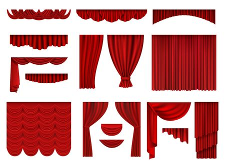 Red curtains. Textile theatrical opera scenes decoration curtains vector realistic collection set. Fabric curtain velvet, presentation theatrical illustration Vetores