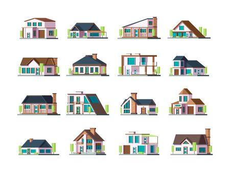 Residential house. Village building exterior modern townhouses vector collection set. Illustration building village, home residential