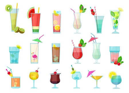 Cocktails. Glasses with alcoholic drinks transparent cocktail mix with fruits margarita vodka martini sambuca vector pictures. Alcohol cocktail in glass, martini drink beverage margarita illustration