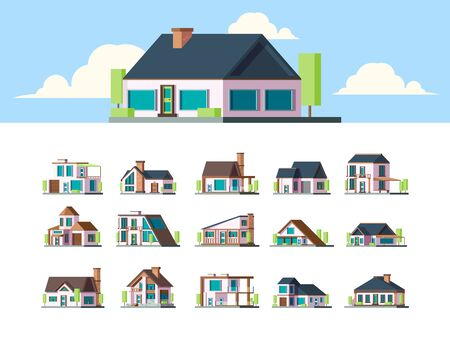 Residential houses. Suburban townhouse buildings countryside apartments flat property modern living exterior vector set. Different house, architectural cottage collection building illustration
