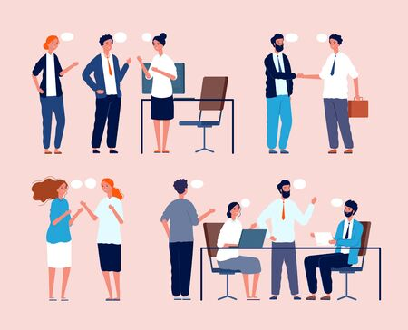 Business situation. Dialog between persons sitting at table in office people meeting vector flat pictures. Business worker and brainstorming, organization workspace, employee negotiation illustration Ilustração Vetorial