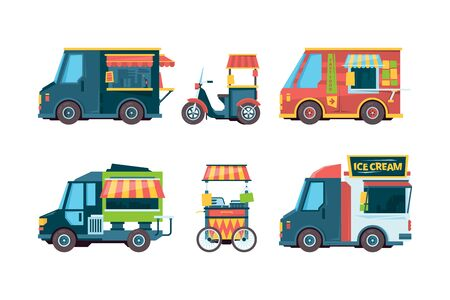 Food truck. Pushcart picking transport hawkers festival fast food vector collection flat pictures. Food truck street, fast pushcart with snack illustration Illustration