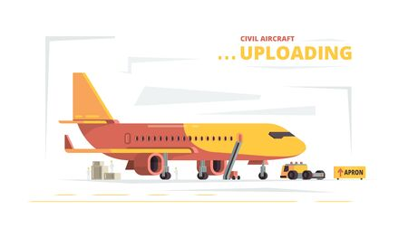 Cargo plane. Upload civil aircraft technical cars freight vector concept. Preparing and loading aircraft before flight illustration Ilustração