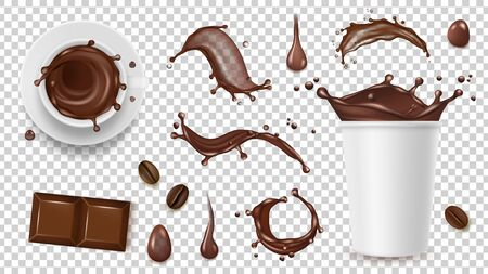 Realistic coffee set. Drink splashes, coffee beans and take away cup, chocolate isolated on transparent background vector elements. Cup of chocolate and coffee drink, hot beverage illustration Illusztráció