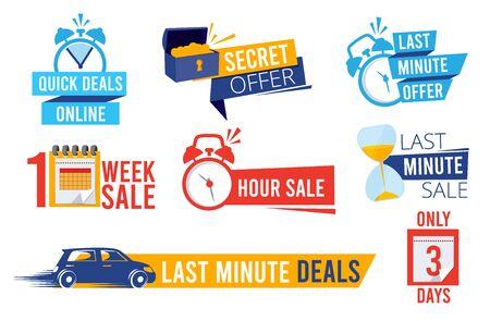 Ultime offerte. Contatore di vendita migliori offerte di tempo sconto banner o distintivi simboli orologio pubblicità promozione vettoriale. Numero di conto alla rovescia dell'illustrazione per l'ultima offerta nel marketing