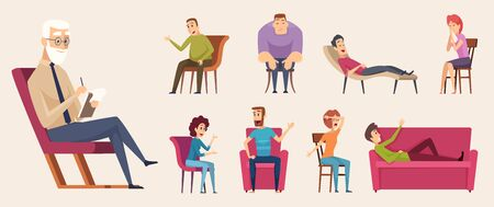 Psychotherapy consulting. People dialogue crowd conversation with psychology consultant family therapy vector. Illustration psychotherapy and consultation psychology Ilustrace