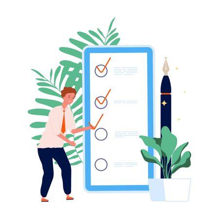 Time management. To do list, man and mobile planning. Self management online vector concept. Planning and productivity organization, businessman with checkbox illustration Ilustração