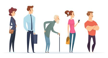 Queue persons. Profile characters male and female standing in line vector people. Illustration queue line, row people crowd, male and female