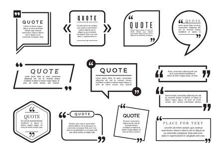 Quote bubbles set. Vector text boxes templates. Different blog frames collection. Blog quote, speech bubble info, textbox quotation illustration Ilustração