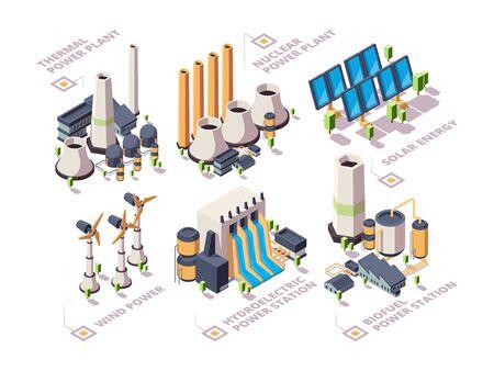 Systèmes énergétiques. De puissantes usines de la nature, des panneaux solaires électriques, des moulins à vent à turbine, vecteur d'énergie verte isométrique. Illustration énergie natura, géothermie et bio écologique, biocarburant et hydroélectrique