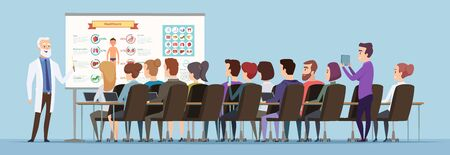 Professor lecturer. Doctor training group speech for students audience vector cartoon background. Professor lecturer, leadership on conference, briefing or seminar illustration