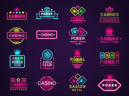 Casino neon badges. Poker club game logo colored lighting vegas style vector set. Casino club poker, light neon gambling signboard illustration