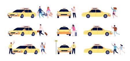 Characters and taxi. Person car passengers and taxi driver standing near car vector taxi service flat set. Passenger taxi, profession, driver auto illustration Illusztráció