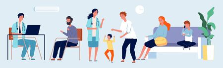 Medical center. Doctor office with patients. Pediatric, therapist vector characters. Hospital staff illustration. Medical office care, hospital with waiting patient Illusztráció