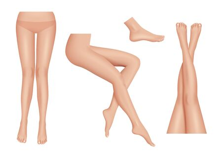 Legs realistic. Beauty woman legs body parts clean healthy vector set. Foots female parts body, lady attractive nude illustration Illustration