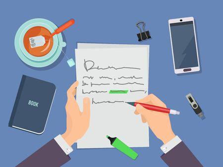 Redacción de cartas. Manos de autor sosteniendo lápiz y escribiendo poema en concepto de vector de papel. Carta del autor, ilustración del espacio de trabajo de la literatura del escritor Ilustración de vector
