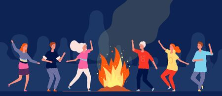 Campfire dance. People happy characters at night camping festival vector group persons. Illustration fire dance, people party forest near campfire 向量圖像