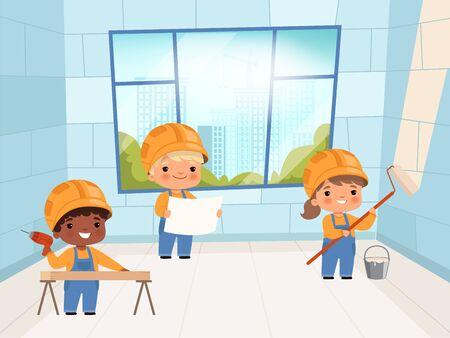 Kids builders. Funny young peoples constructors crane and brick wall making vector characters. Builder character, worker professional industrial illustration