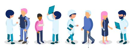 Doctors, disabled people. Disabilities persons isometric. Injury invalids defective men women kid, medical staff vector 3d people. Doctors and disabled people illustration Illusztráció