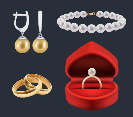 Wedding rings. Gold trappings in decoration red packs glossy jewelry vector realistic set. Illustration jewellery and brilliance, costly luxurious
