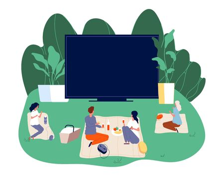Open air cinema. Outdoors movie illustration. Teenagers with snacks and screening film. Romantic couple date vector concept. Movie cinema outdoor, entertainment watching illustration Illusztráció