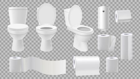 Realistic toilet bowl. Restroom accessories isolated on transparent background. Paper rolls and and air freshener vector set. Bathroom toilet, hygiene clean paper for restroom illustration Stock fotó - 138261923