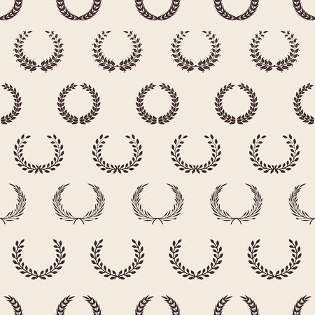 Motif de couronne vintage. Laurier grec, récompense une texture transparente. Fond de branches d'olivier de vecteur. Motif de laurier de guirlande, illustration de branche de prix
