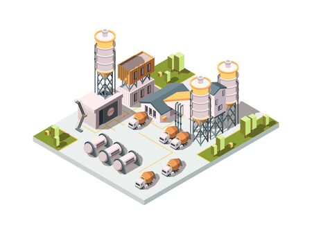 Concrete factory. Machinery manufactory production industrial concept cement mixer machine and tanks vector isometric. Illustration factory building, plant manufacturing